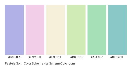 Pastels Soft & Gentle - Color scheme palette thumbnail - #b0b1e6 #f3cee8 #f4f0d9 #d0ebb5 #a5e0b6 #88c9c8