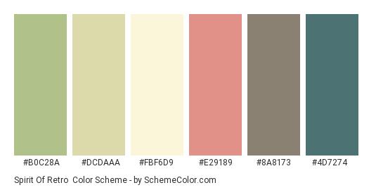 Spirit of Retro - Color scheme palette thumbnail - #b0c28a #dcdaaa #fbf6d9 #e29189 #8a8173 #4d7274