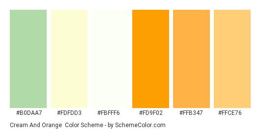 Cream and Orange - Color scheme palette thumbnail - #b0daa7 #fdfdd3 #fbfff6 #fd9f02 #ffb347 #ffce76