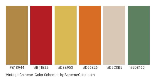 Vintage Chinese - Color scheme palette thumbnail - #b18944 #b41e22 #d8b953 #d66e26 #d9c8b5 #5d8160