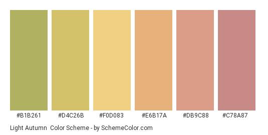 Light Autumn - Color scheme palette thumbnail - #b1b261 #d4c26b #f0d083 #e6b17a #db9c88 #c78a87