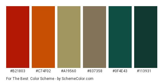 For The Best - Color scheme palette thumbnail - #b21803 #c74f02 #a19560 #837358 #0f4e43 #113931