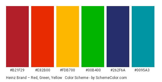 Heinz Brand – Red, Green, Yellow & Blue - Color scheme palette thumbnail - #b21f29 #e82b00 #fdb700 #00b400 #262f6a #0095a3