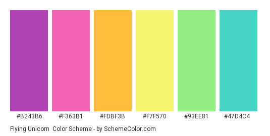 Flying Unicorn - Color scheme palette thumbnail - #b243b6 #f363b1 #fdbf3b #f7f570 #93ee81 #47d4c4