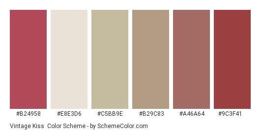Vintage Kiss - Color scheme palette thumbnail - #b24958 #e8e3d6 #c5bb9e #b29c83 #a46a64 #9c3f41