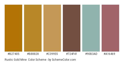 Rustic Gold Mine - Color scheme palette thumbnail - #b27405 #b88828 #c39955 #724f41 #90b3ad #a16469