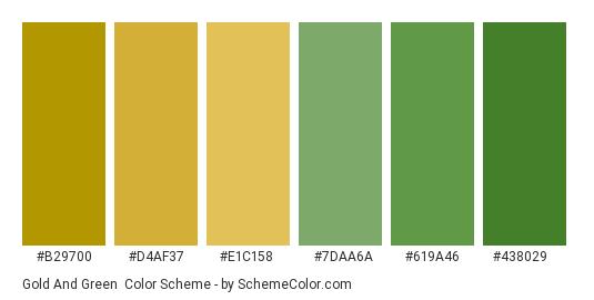 Gold and Green - Color scheme palette thumbnail - #b29700 #d4af37 #e1c158 #7daa6a #619a46 #438029
