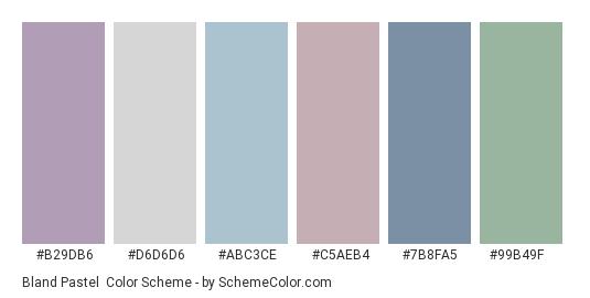 Bland Pastel - Color scheme palette thumbnail - #b29db6 #d6d6d6 #abc3ce #c5aeb4 #7b8fa5 #99b49f