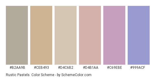 Rustic Pastels - Color scheme palette thumbnail - #b2aa9b #ceb493 #d4c6b2 #d4b1aa #c69ebe #999acf