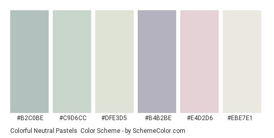 Colorful Neutral Pastels - Color scheme palette thumbnail - #b2c0be #c9d6cc #dfe3d5 #b4b2be #e4d2d6 #ebe7e1