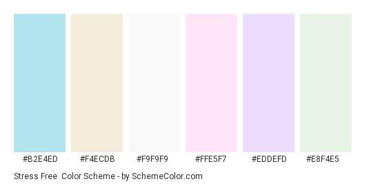 Stress Free - Color scheme palette thumbnail - #b2e4ed #f4ecdb #f9f9f9 #ffe5f7 #eddefd #e8f4e5
