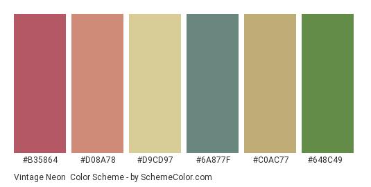 Vintage Neon - Color scheme palette thumbnail - #b35864 #d08a78 #d9cd97 #6a877f #c0ac77 #648c49