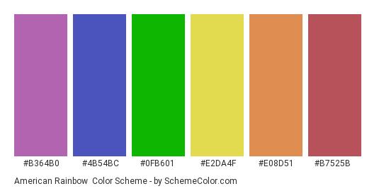 American Rainbow - Color scheme palette thumbnail - #b364b0 #4b54bc #0fb601 #e2da4f #e08d51 #b7525b