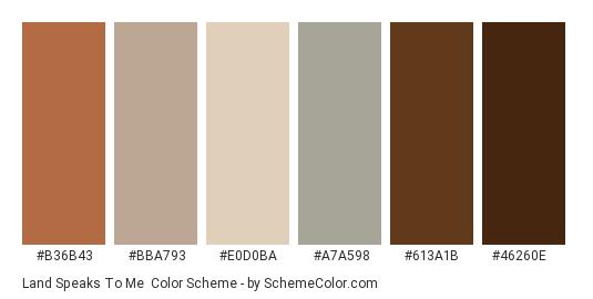 Land Speaks To Me - Color scheme palette thumbnail - #b36b43 #bba793 #e0d0ba #a7a598 #613a1b #46260e