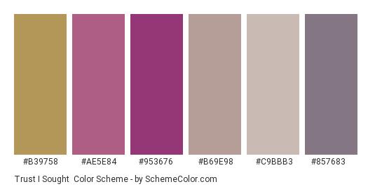 Trust I Sought - Color scheme palette thumbnail - #b39758 #ae5e84 #953676 #b69e98 #c9bbb3 #857683