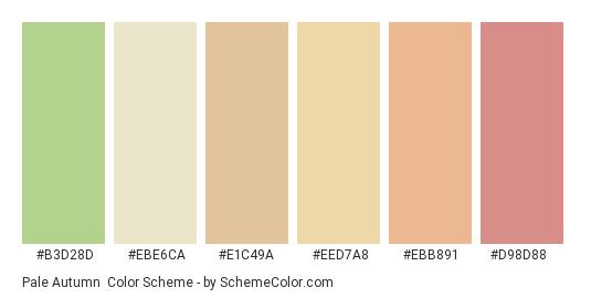Pale Autumn - Color scheme palette thumbnail - #b3d28d #ebe6ca #e1c49a #eed7a8 #ebb891 #d98d88