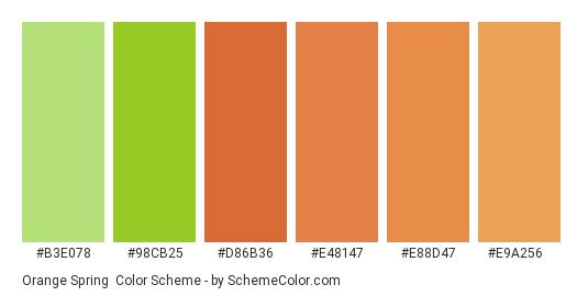 Orange Spring - Color scheme palette thumbnail - #b3e078 #98cb25 #d86b36 #e48147 #e88d47 #e9a256