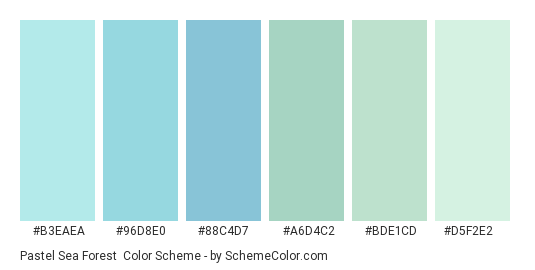 Pastel Sea Forest - Color scheme palette thumbnail - #b3eaea #96d8e0 #88c4d7 #a6d4c2 #bde1cd #d5f2e2