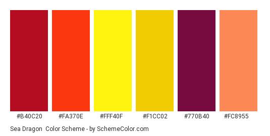 Sea Dragon - Color scheme palette thumbnail - #b40c20 #fa370e #fff40f #f1cc02 #770b40 #fc8955