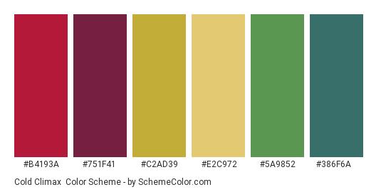 Cold Climax - Color scheme palette thumbnail - #b4193a #751f41 #c2ad39 #e2c972 #5a9852 #386f6a