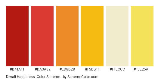 Diwali Happiness - Color scheme palette thumbnail - #b41a11 #da3a32 #ed8b28 #f5bb11 #f1eccc #f3e25a