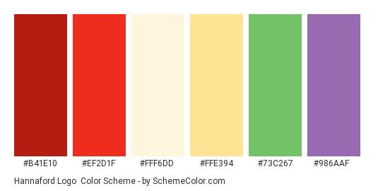 Hannaford Logo - Color scheme palette thumbnail - #b41e10 #ef2d1f #fff6dd #ffe394 #73c267 #986aaf