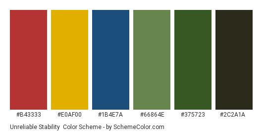 Unreliable Stability - Color scheme palette thumbnail - #b43333 #e0af00 #1b4e7a #66864e #375723 #2c2a1a