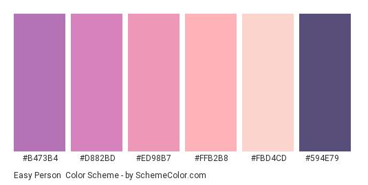 Easy Person - Color scheme palette thumbnail - #b473b4 #d882bd #ed98b7 #ffb2b8 #fbd4cd #594e79