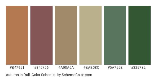 Autumn is Dull - Color scheme palette thumbnail - #b47951 #845756 #a08a6a #bab08c #5a755e #325732