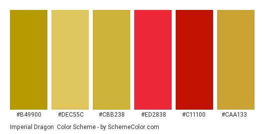 Imperial Dragon - Color scheme palette thumbnail - #b49900 #dec55c #cbb238 #ED2838 #c11100 #caa133