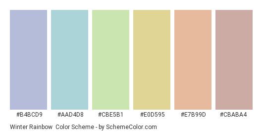 Winter Rainbow - Color scheme palette thumbnail - #b4bcd9 #aad4d8 #cbe5b1 #e0d595 #e7b99d #cbaba4