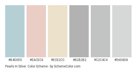 Pearls in Silver - Color scheme palette thumbnail - #b4d0d5 #eacec6 #ece2cc #b2b2b2 #c2c4c4 #d6d8d8