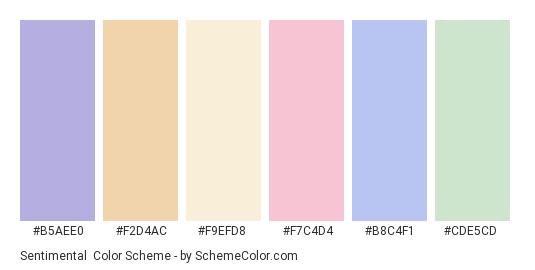 Sentimental - Color scheme palette thumbnail - #b5aee0 #f2d4ac #f9efd8 #f7c4d4 #b8c4f1 #cde5cd