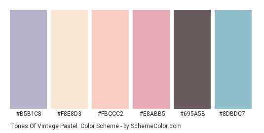 Tones of Vintage Pastel - Color scheme palette thumbnail - #b5b1c8 #f8e8d3 #fbccc2 #e8abb5 #695a5b #8dbdc7