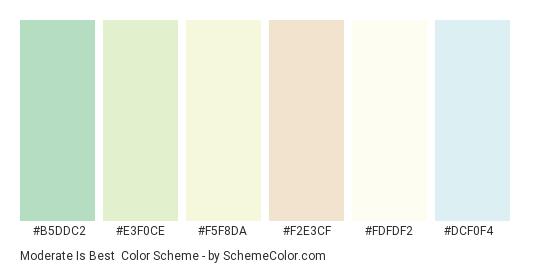 Moderate is Best - Color scheme palette thumbnail - #b5ddc2 #e3f0ce #f5f8da #f2e3cf #fdfdf2 #dcf0f4