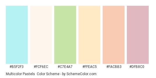 Multicolor Pastels - Color scheme palette thumbnail - #b5f2f3 #fcf6ec #c7e4a7 #ffeac5 #facbb3 #dfb8c0