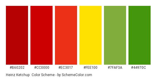 Heinz Ketchup - Color scheme palette thumbnail - #b60202 #cc0000 #ec3017 #fee100 #7faf3a #44970c