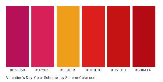 Valentine's Day - Color scheme palette thumbnail - #b61059 #d72058 #ee9e1b #dc1e1c #c51313 #b30a14