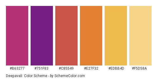 Deepavali - Color scheme palette thumbnail - #b63277 #751f83 #c85549 #e27f32 #edbb4d #f5d58a
