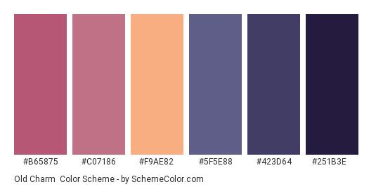 Old Charm - Color scheme palette thumbnail - #b65875 #c07186 #f9ae82 #5f5e88 #423d64 #251b3e