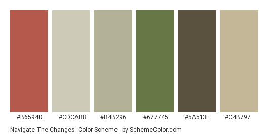 Navigate the Changes - Color scheme palette thumbnail - #b6594d #cdcab8 #b4b296 #677745 #5a513f #c4b797