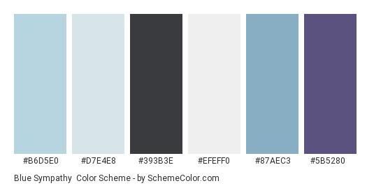 Blue Sympathy - Color scheme palette thumbnail - #b6d5e0 #d7e4e8 #393b3e #efeff0 #87aec3 #5b5280
