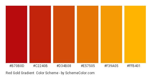 Red Gold Gradient - Color scheme palette thumbnail - #b70b0d #c2240b #d34b08 #e57505 #f39a05 #ffb401