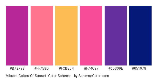 Vibrant Colors of Sunset - Color scheme palette thumbnail - #b72798 #ff758d #fcbe54 #f74c97 #65309e #051978