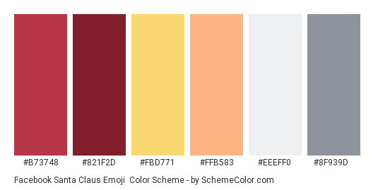 Facebook Santa Claus Emoji - Color scheme palette thumbnail - #b73748 #821f2d #fbd771 #ffb583 #eeeff0 #8f939d