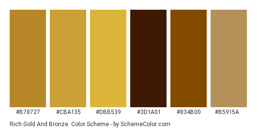 Rich Gold and Bronze - Color scheme palette thumbnail - #b78727 #cba135 #dbb539 #3d1a01 #834b00 #b5915a