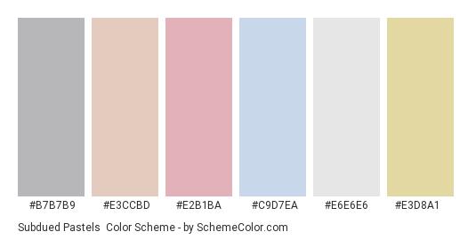 Subdued Pastels - Color scheme palette thumbnail - #b7b7b9 #e3ccbd #e2b1ba #c9d7ea #e6e6e6 #e3d8a1