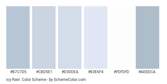 Icy Rain - Color scheme palette thumbnail - #b7c7d5 #cbd5e1 #d3ddea #e0e6f4 #fdfdfd #aebdca