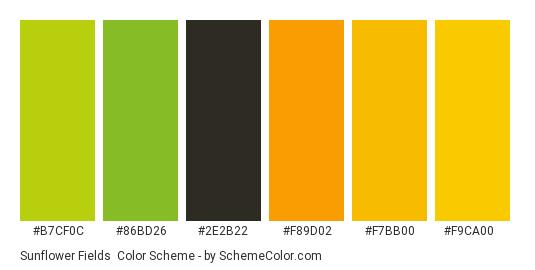Sunflower Fields - Color scheme palette thumbnail - #b7cf0c #86bd26 #2e2b22 #f89d02 #f7bb00 #f9ca00