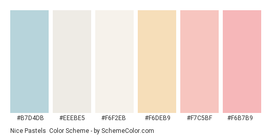 Nice Pastels - Color scheme palette thumbnail - #b7d4db #eeebe5 #f6f2eb #f6deb9 #f7c5bf #f6b7b9